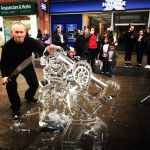 Live Ice Sculpture Carving Display at Bromley Christmas Market