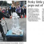 Live Ice Carving Display for Fire and Ice Theme at West Sussex School