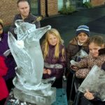 Live Ice Sculpture Carving Display for Fire and Ice Theme at Sussex, Surrey and Kent Schools