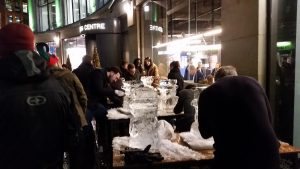 London Live ice carving teambuilding in West London for Christmas Teambuilding Event