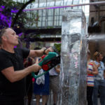 Live ice carving ice sculpture show for Stonewall and Gokwan at Barbican London