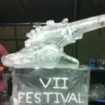 105mm Gun Ice Sculpture Vodka Luge for Royal Horse Artillery Military party